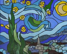 Van Gogh Starry Night stained glass window, Boehm Stained Glass, Midland Park, NJ