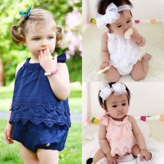 Baby-Girls-Flower-Lace-Dress-Romper-Bodysuit-Jumpsuit-Outfit-Set-Summer-Clothes