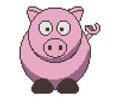 Counted Cross Stitch Pattern, Pig Cross-Stitch Pattern PDF, Barnyard Farm Animals