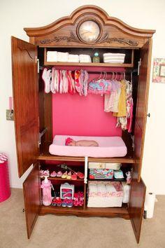 TV Armoire repurposed into a diaper changer DIY