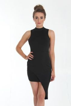 Black Asymmetrical Mock Neck Mini Dress