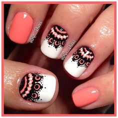 Tribal nails black coral summer
