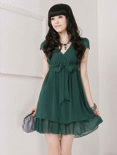 Japan Style Ruffles Hem Bow Design Short Sleeve Dress