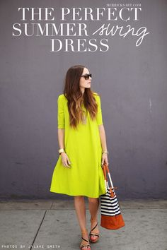 Free tutorial to sew a summer swing dress. #summer #dress #sewing