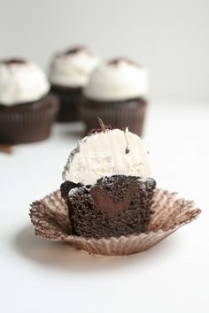 Chocolate Ganache Cupcakes - chocolate cupcakes filled with ganache & topped with light & fluffy Italian meringue buttercream.