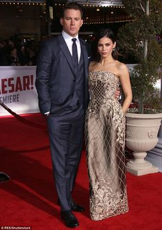Sparkling: Channing Tatum and his wife Jenna Dewan-Tatum wowed on the red carpet at the Hail, Caesar! film premiere in Los Angeles