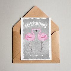 Cartes de voeux dessinées, mises en page et imprimées en Alsace. #carte #cartedevoeux #felicitations #mariage #flamantrose #papeterie #aquarelle #alsace #juliebellule