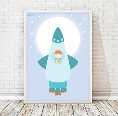 rocket space kids art room kids art decor by Ilustracionymas