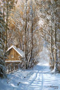 Marek Szczepaniak - Picture Gallery Source by henryshap Winter Painting, Winter Art, Hubble Pictures, Winter Scenery, Snow Scenes, Winter Pictures, Christmas Paintings, Winter Landscape, Beautiful Landscapes