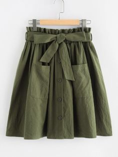 Young Casual Plain Flared Mid Waist Army Green Above Knee/Short Length Frill Waist Pocket Front Buttoned Utility Skirt with Belt Skirt Outfits, Dress Skirt, Ruffle Skirt, Frilly Skirt, Chic Dress, Dress Shoes, Shoes Heels, A Line Shorts, Mein Style