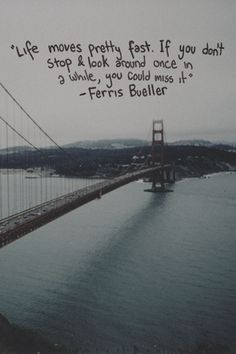 Life moves pretty fast. If you don't stop and look around once in a awhile, you could miss it.  ~Ferris Bueller