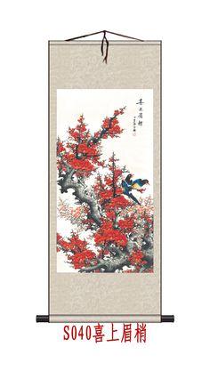 EMS Freeshipping Home Decor Цветок традиционный китайский шелк прокрутки китайский стиль подарок 70*165 СМ дамаск оформлена Картина