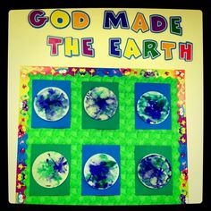 Three year old preschool art!  Perfect for talking about creation or for Earth Day!  Color with blue and green markers on a codfee filter and then use a spray bottle or droppers to spray the filter and watch the ink spread!  The kids loved it!
