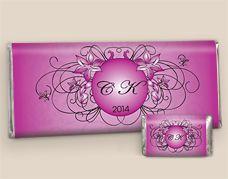 Magenta Glimpse of the Future Custom Chocolate: Wedding Candy Bars