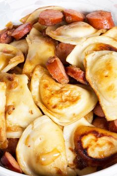 Pierogi and Kielbasa Sausage Skillet Recipe - I left out cabbage, so did less butter, only browned pierogies for minutes total, and then did half the amount of beef broth and cooked minutes until the water evaporated and it thickened. Pork Recipes, Crockpot Recipes, Cooking Recipes, Recipies, Sausage Skillet Recipe, Perogies And Sausage Recipe, Polish Sausage Recipes, Kielbasa Sausage, Pierogies And Kielbasa