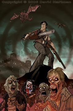 """This was a runner-up winner for my pageview contest. was the winner and got to pick what film I would do fan art for next. He picked """"Evil Dead"""". EVIL DEAD by Hartman Evil Dead Trilogy, Evil Dead Series, The Crow, Arte Horror, Horror Art, Bruce Campbell Evil Dead, Rock And Roll, Ash Evil Dead, Horror Icons"""