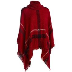 Sylvia Alexander Large Plaid Poncho ($40) ❤ liked on Polyvore featuring outerwear, red plaid poncho, plaid ponchos, tartan poncho and red poncho