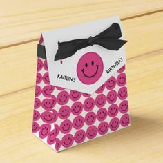 #party - #Pink Smiley Faces Party Favor Box