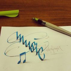 """""""Music"""" - letter art by Tolga Girgin, via Behance (from Lettering with Parallelpen-Brushpen & Pencil - Part Calligraphy Words, Typography Letters, Penmanship, Calligraphy Doodles, Islamic Calligraphy, Creative Lettering, Lettering Design, Beautiful Lettering, Art Graphique"""