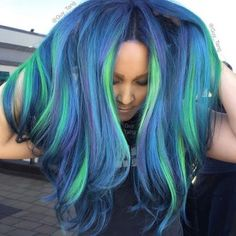@guy_tang's Laser Lights Technique. He used #KenraColorCreative Neon Green, Neon Blue, Neon Violet with Creative Teal, Violet, and Charcoal.   #NeonMania #KenraColor #GuyTang