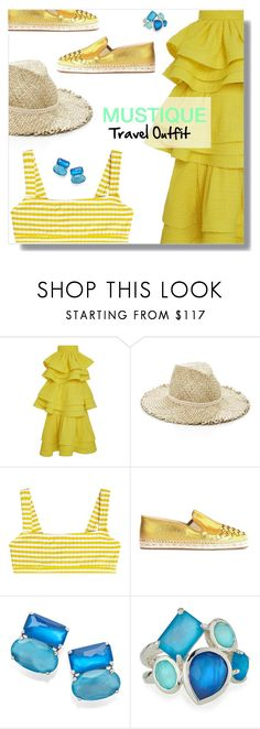 """Mustique Travel Outfit."" by peony-and-python ❤ liked on Polyvore featuring Rosie Assoulin, Eugenia Kim, Solid & Striped, Bottega Veneta, Ippolita, Summer, outfit, travel, outfitsfortravel and Mustique"