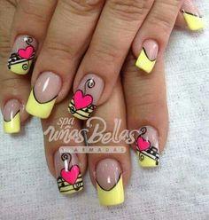 Gel Nail Art, Nail Manicure, Love Nails, Pretty Nails, Yellow Nail Art, Valentine Nail Art, Boxing Day, Toe Nail Designs, Fabulous Nails