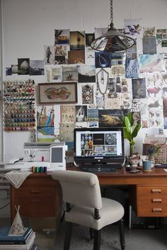 Moodboard wall with collections around office desk // Coral & Tusk Studio Tour