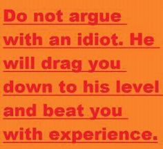 Do not argue with an idiot...