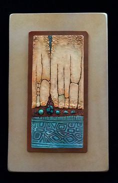 "Polymer clay wall art by Karen Brueggemann. Bottom section uses Pixie Art Stamps ""Mini Bar Blues"""
