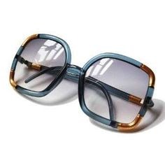 20591642cb Vintage Ted Lapidus Paris Blue Gold Oversized 1970s Square Sunglasses