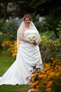Bride in garden, Executive Court Banquet Facility, Manchester, NH