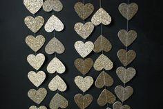 6' Glittered Heart Garland by GlitterandGrain on Etsy, $14.00