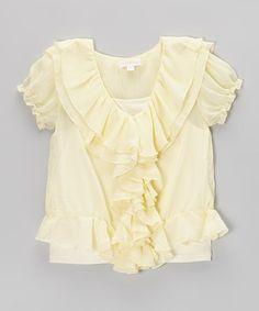 Look at this #zulilyfind! Ivory Ruffle Top - Toddler & Girls #zulilyfinds