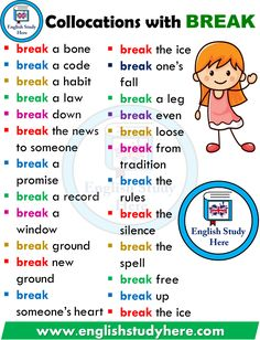 English Collocations with BREAK – learning GO - Bildung English Verbs, Learn English Grammar, English Vocabulary Words, English Fun, Learn English Words, English Phrases, English Writing, English Study, English Lessons