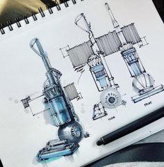 "618 Me gusta, 3 comentarios - INSTILL DESIGN (@instill_design) en Instagram: ""Stunning rendition of a Dyson vac by @andrew_designs. . . . . #instilldesign #idsketching #sketch…"""