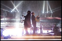 Bruce Springsteen and Clarence Clemons, Super Bowl rehearsal in the rain. February 2009