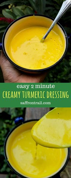 2 Minute Creamy Turmeric Salad Dressing Recipe for an easy 2 minute creamy turmeric salad dressing to add that boost of superfood goodness to your salads [Vegan option included] Turmeric benefits - turmeric recipes - turmeric dressing - turmeric salad dressing - tumeric recipes
