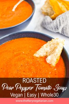 Roasted Red Pepper Soup with Pear (Vegan!) - The Fiery Vegetarian Easy Vegan Lunch, Vegan Lunches, Vegetarian Lunch, Spicy Vegetarian Recipes, Healthy Soup Recipes, Paleo Meals, Roasted Red Pepper Soup, Roasted Red Peppers, Stuffed Pepper Soup