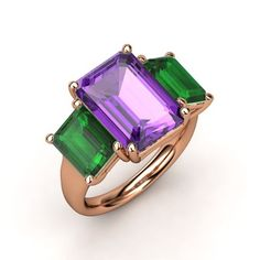 Emerald-Cut Amethyst 18K Rose Gold Ring with Emerald - Naked Emerald Triple Ring | Gemvara