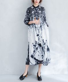 Ink Painting Elegant Slim-Fit Shirt Dress Linen Chinese Dress    #ink #painting #elegant #linen #Chinese #vintage #retro #dress #summer