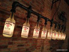 Industrial Style Bottle Lamp  Jim Beam Chandelier  Steampunk