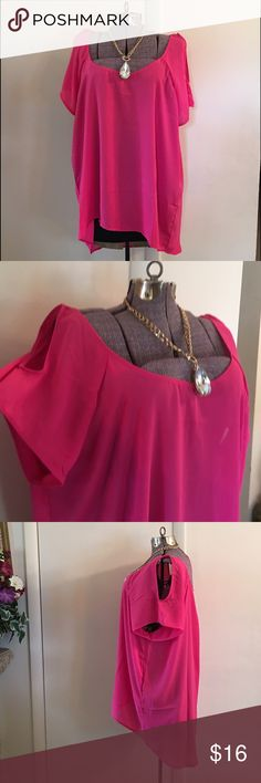 🇺🇸PRICE DROP🇺🇸 New Fuchsia Cold Shoulder Top🛍 New fuchsia cold shoulder top, sheer elegant, slightly high/low, 100% polyester Ambiance Apparel Tops Tunics