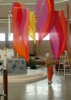 Pentecost:  Judy Dioszegi, Pentecost banner installation (in progress)