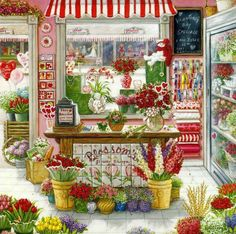 Flower Shop - Cross stitch pattern pdf format by diana70 on Etsy https://www.etsy.com/listing/187843834/flower-shop-cross-stitch-pattern-pdf