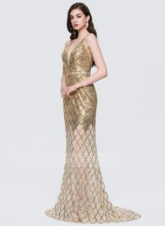 Trumpet Mermaid V-neck Sweep Train Sequined Evening Dress With Beading -  Evening Dresses - JJsHouse 5a59f5c1c670