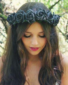 Black Foam Rose Flower Crown - Statement piece - Festival Wear - flower halo, headband, bridal, wedding, floral wreath, flower girl, edc. on Etsy, $38.99
