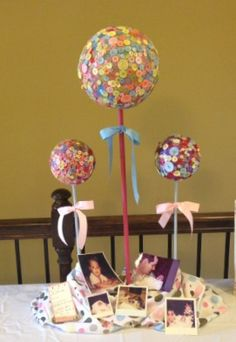 """Cute as a Button"" baby shower topiary"