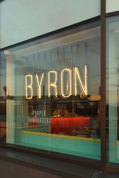 Bold Signage - For our window - Byron burgers - missing my favorite burger place in London! Signage over wallcovering? Shop Signage, Wayfinding Signage, Signage Design, Cafe Design, Store Design, Web Design, Cafe Signage, Window Signage, Shop Front Design