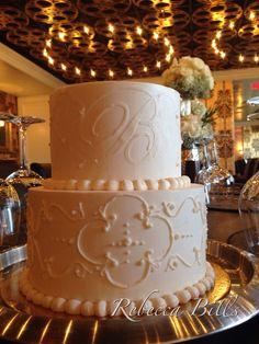 Tiramisu cake, buttercream monogram