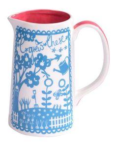 Estilo-Country-yo-he-crecido-estos-White-blue-de-ceramica-vidriada-Leche-Jarra-Florero